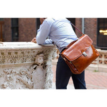 Load image into Gallery viewer, Leather Laptop Briefcase Messenger Bag Floto with Model