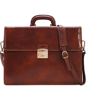 Floto Murano Italian Leather Briefcase Attache with Combination Lock
