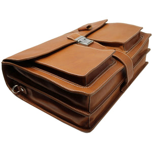 Floto Parma Italian Leather Briefcase Messenger Bag Crossbody - Buttom