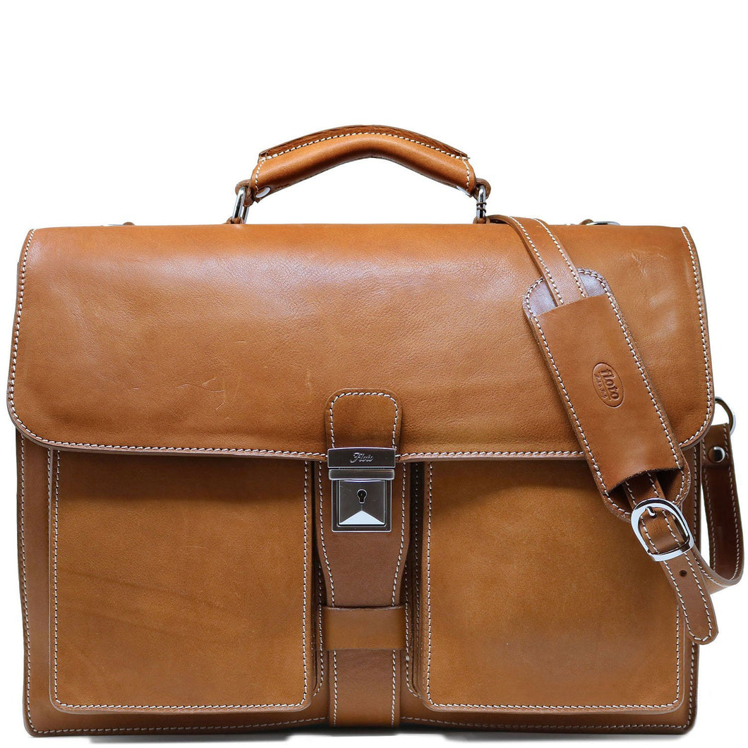 Floto Parma Italian Leather Briefcase Messenger Bag Crossbody