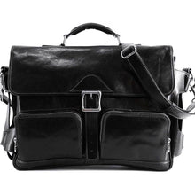 Load image into Gallery viewer, Leather Messenger Bag Floto Roma Roller Buckle black