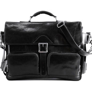 Leather Messenger Bag Floto Roma Roller Buckle black