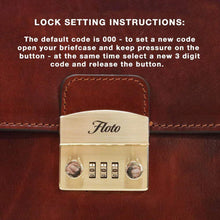 Load image into Gallery viewer, Floto Ciabatta Italian Leather Briefcase Attache with Combination Lock - Lock Code Info