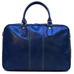 Floto Venezia Slim Leather Brief Made in Italy - Blue