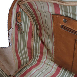 Floto Venezia Leather Travel Duffle Bag 2.0 - Inside Detail View