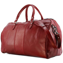 Load image into Gallery viewer, Floto Venezia Leather Travel Duffle Bag 2.0 - Tuscan Red Side View