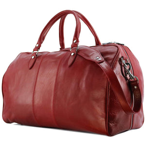 Floto Venezia Leather Travel Duffle Bag 2.0 - Tuscan Red Side View