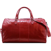 Load image into Gallery viewer, Floto Venezia Leather Travel Duffle Bag 2.0 Tuscan Red