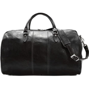 leather duffle bag floto venezia black