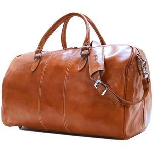 Floto Italian Leather Venezia Duffle Travel Bag Luggage olive honey brown