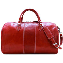 Load image into Gallery viewer, Floto Italian Leather Venezia Duffle Travel Bag Luggage tuscan red