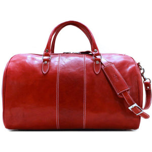 Floto Italian Leather Venezia Duffle Travel Bag Luggage tuscan red