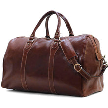 Load image into Gallery viewer, Floto Milano Leather Duffle Travel Bag Weekender Carryon - Veccio Brown Side View