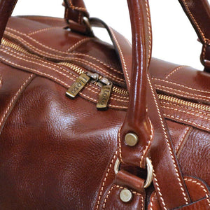 Floto Milano Leather Duffle Travel Bag Weekender Carryon - Detail View, Brass Hardware