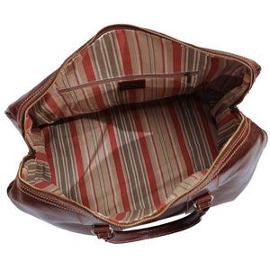 Floto Milano Leather Duffle Travel Bag Weekender Carryon - Inside View