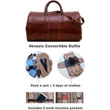 Load image into Gallery viewer, Floto Venezia Leather Garment Duffle - Easy to Pack a lot of stuff!