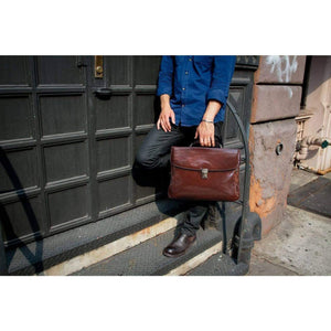 Leather Laptop Briefcase Messenger Bag Floto with Model