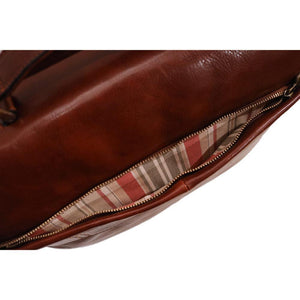 Floto Firenze Italian Laptop Leather Men's Briefcase Messenger Bag - Vecchio Brown (Detail View)