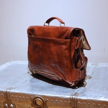 Load image into Gallery viewer, Leather Messenger Bag Floto Roma Roller Buckle back
