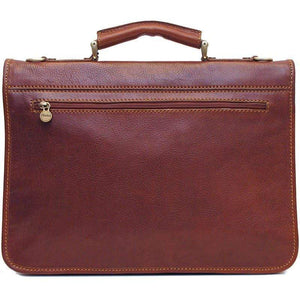 Floto Italian Leather Briefcase Messenger Bag Crossbody - Back View