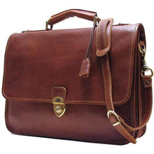 Load image into Gallery viewer, leather briefcase messenger bag floto