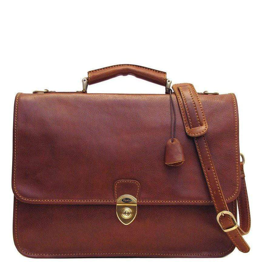 Floto Italian Leather Briefcase Messenger Bag Crossbody