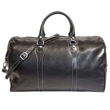 Load image into Gallery viewer, Floto Milano Leather Duffle Travel Bag Weekender Carryon - Black