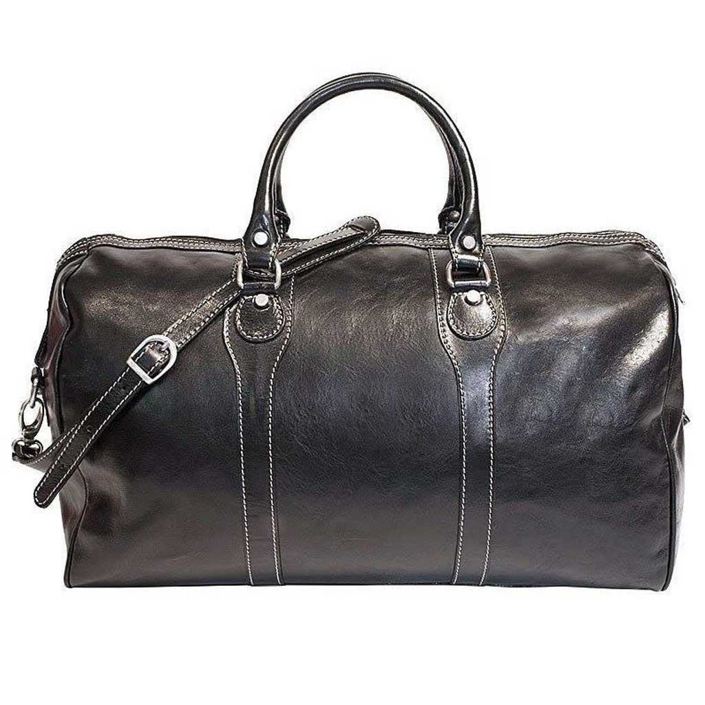 Floto Milano Leather Duffle Travel Bag Weekender Carryon - Black