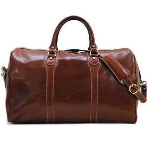 Floto Milano Leather Duffle Travel Bag Weekender Carryon - Veccio Brown