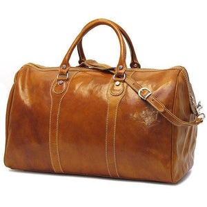Floto Milano Leather Duffle Travel Bag Weekender Carryon - Olive (Honey) Brown