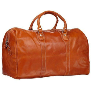 Floto Milano Leather Duffle Travel Bag Weekender Carryon - Orange