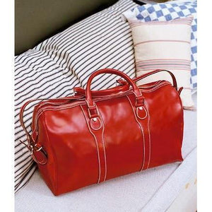 Floto Milano Leather Duffle Travel Bag Weekender Carryon - Venetian Red