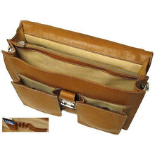 Load image into Gallery viewer, Floto Parma Italian Leather Briefcase Messenger Bag Crossbody - Inside