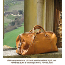 Load image into Gallery viewer, Floto Parma Italian Leather Duffle Travel Bag Carryon Suitcase Luggage - Lifestyle Image