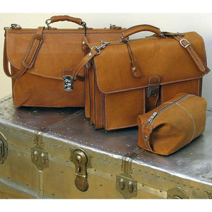 Floto Parma Italian Leather Briefcase Messenger Bag Crossbody - Set