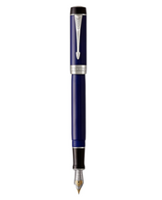 Load image into Gallery viewer, PARKER Duofold Centennial Fountain Pen Classic Blue & Black, Medium Solid Gold Nib