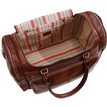 Load image into Gallery viewer, Floto Torino Leather Duffle Travel Bag Weekender Carryon - Inside View
