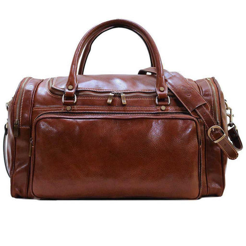 Floto Torino Leather Duffle Travel Bag Carryon Vecchio Brown - PensAndLeather