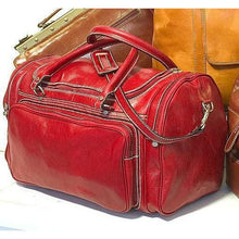 Load image into Gallery viewer, Floto Torino Leather Duffle Travel Bag Weekender Carryon - Venetian Red
