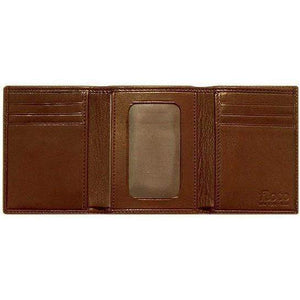 leather tri-fold id wallet floto brown