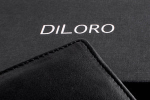 DiLoro Italy Men's Leather Wallet RFID Blocking Genuine Full Grain Leather Bifold Flip Coin Wallet with RFID Blocking Technology to Protect your from Identity Theft