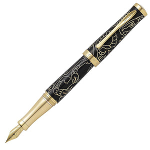Cross Sauvage Special Edition Year of the Goat Black Lacquer 23KT Gold Fountain Pen Medium Nib