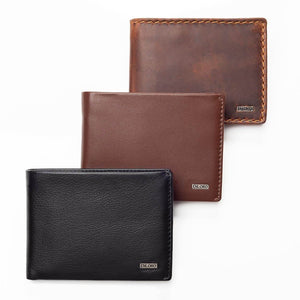 Compact European Style Men's Leather Wallet with Coin Compartment in Various Colors on White Background