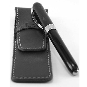 DiLoro Single Leather Pen Holder in Black - Full Grain Leather shown with a Visconti pen (pen not included)