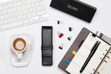 Load image into Gallery viewer, DiLoro Double Pen Case Holder in Top Quality, Full Grain Nappa Leather - Black