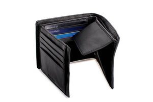 DiLoro Men's Leather Bifold Wallet with Flip ID, Coin Wallet and RFID Blocking Technology - Inside View