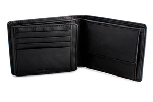 DiLoro Men's Leather Bifold Wallet with Flip ID, Coin Wallet and RFID Blocking Technology - Inside View, Half Open
