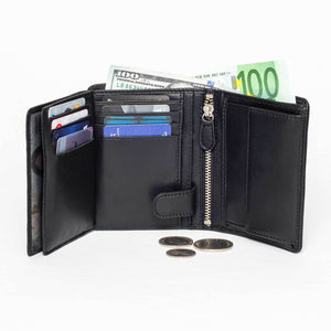 DiLoro Men's Vertical Leather Bifold Flip ID Zip Coin Wallet Black with RFID Protection  - Fully Open View
