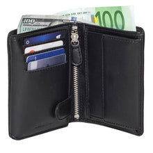 Load image into Gallery viewer, DiLoro Men's Vertical Leather Bifold Flip ID Zip Coin Wallet Black with RFID Protection  - Half Open View