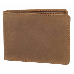DiLoro Men's Leather Bifold Wallet with Flip ID, Coin Wallet and RFID Blocking Technology Front View